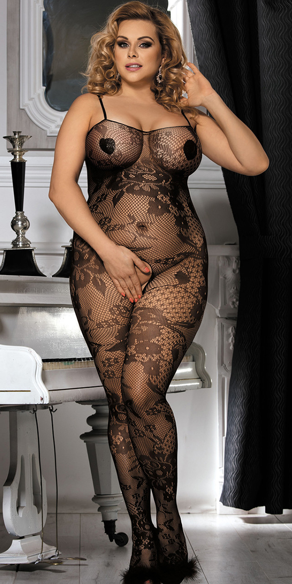 plus size black floral patterned bodystocking sexy women's hosiery curvy