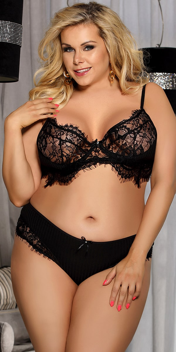 plus size eyelash lace bra and panty set curvy sexy women's intimates