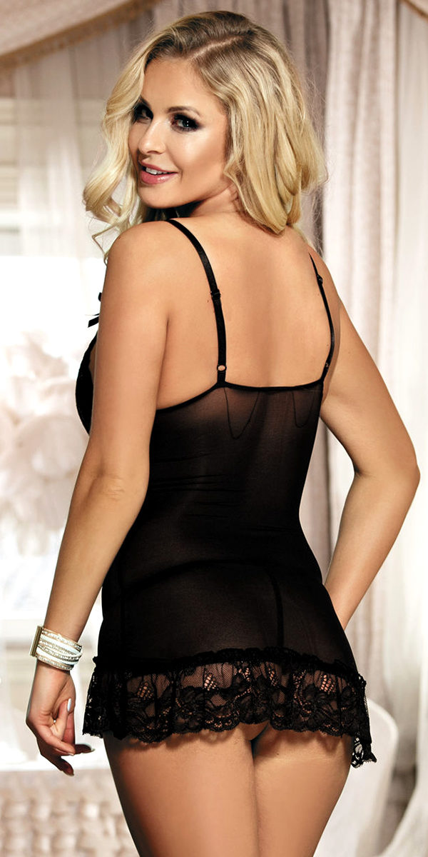 sheer lace chemise with g-string sexy women's lingerie