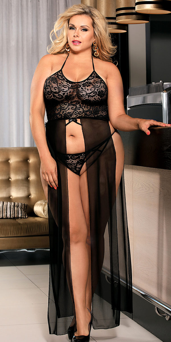 plus size lace bodice gown with g-string sexy women's loungewear curvy