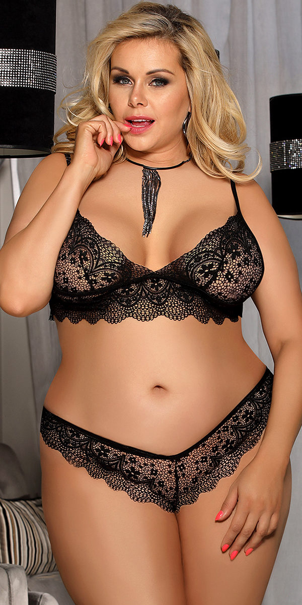 plus size scalloped lace bralette set sexy women's intimates curvy