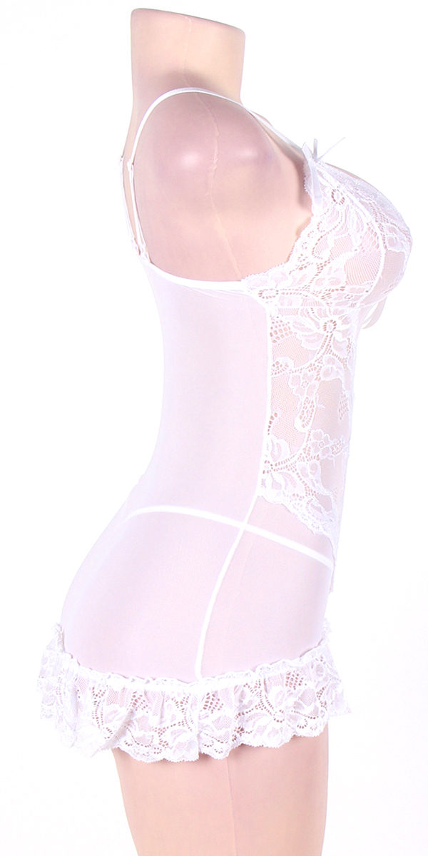 plus size sheer lace chemise with g-string sexy women's lingerie curvy