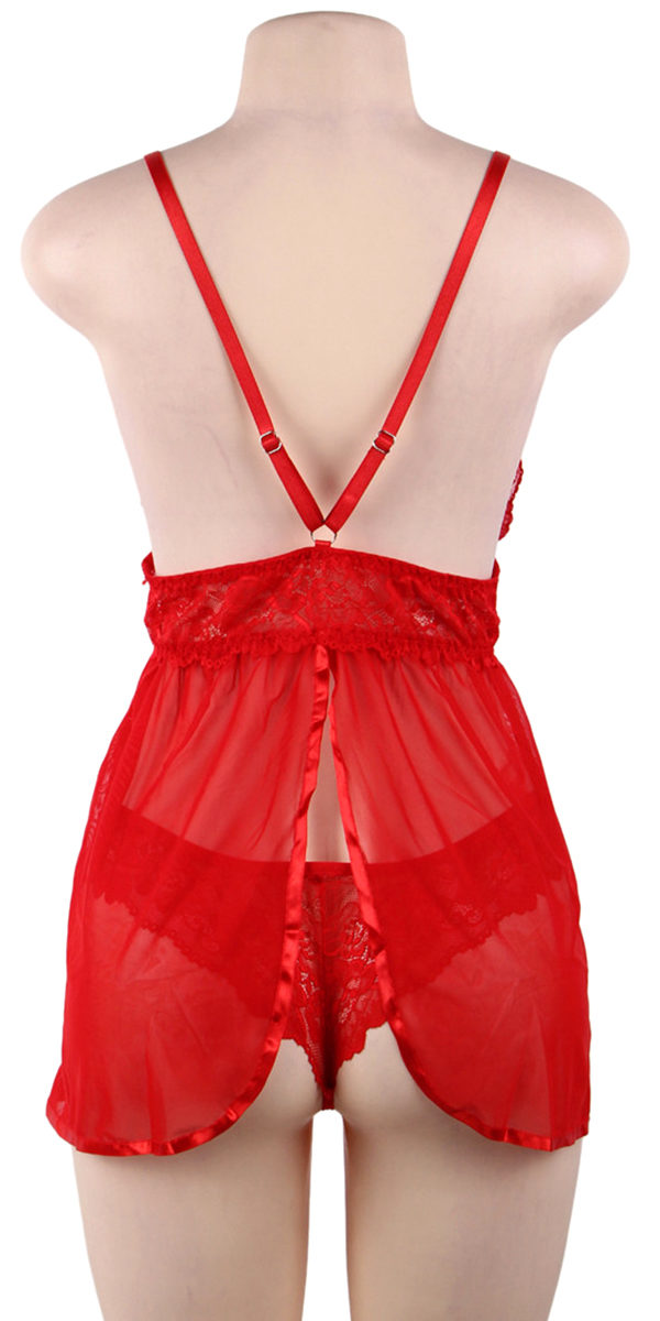 fly-away eyelash lace babydoll with g-string sexy women's lingerie