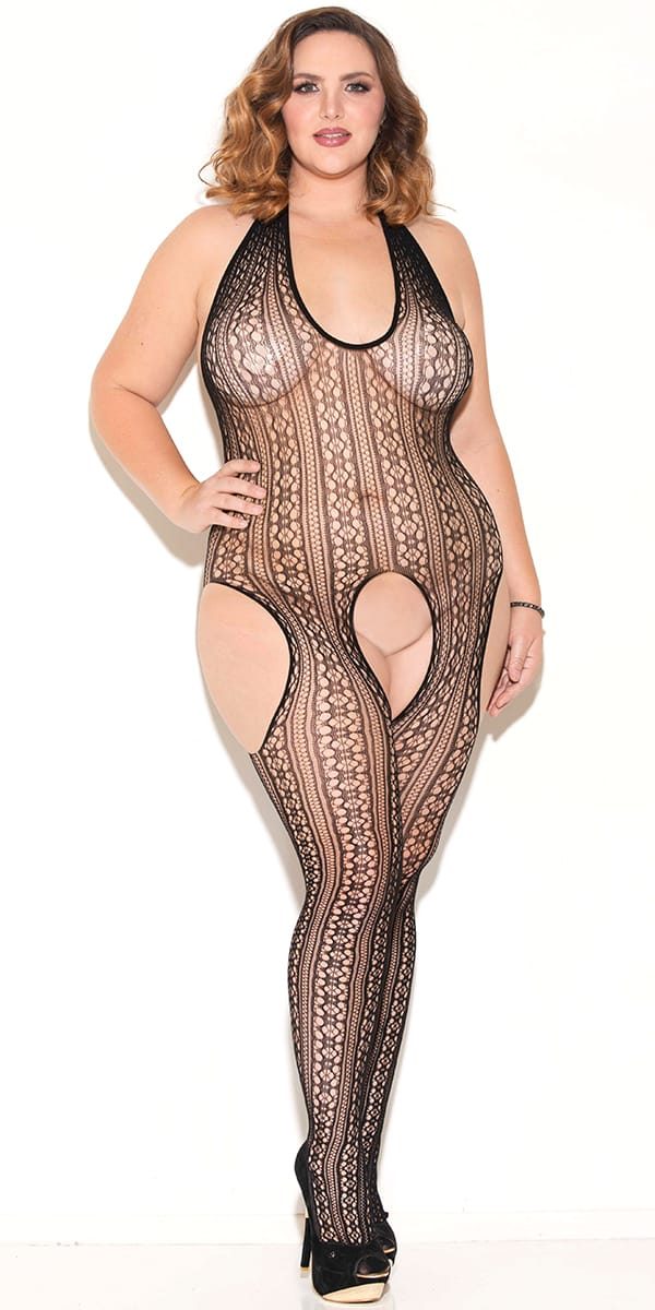 plus size black striped bodystocking with cut-outs sexy women's hosierry