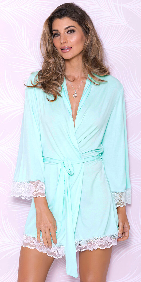 aqua modal lace robe sexy women's loungewear
