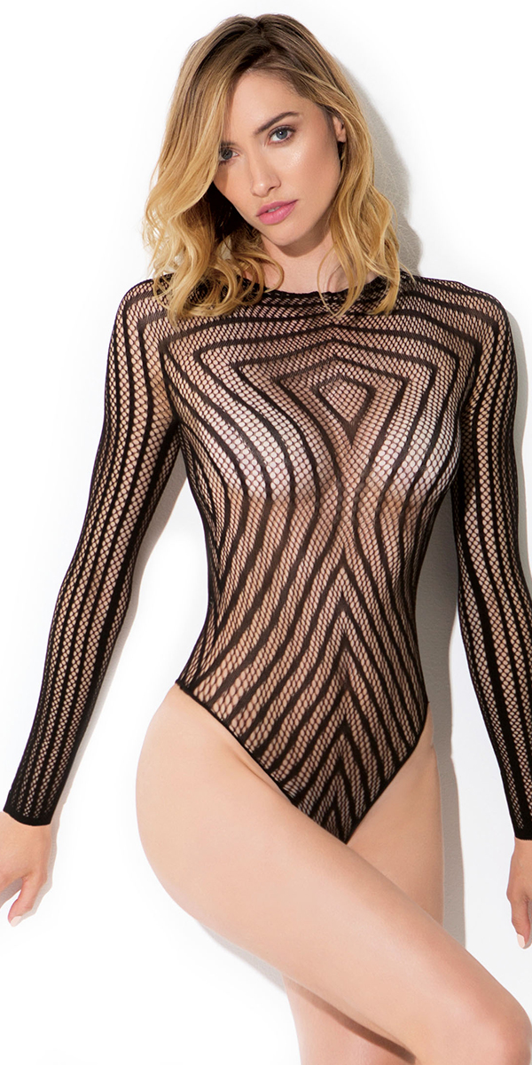 black bodysuit with vertical lines sexy women's hosiery