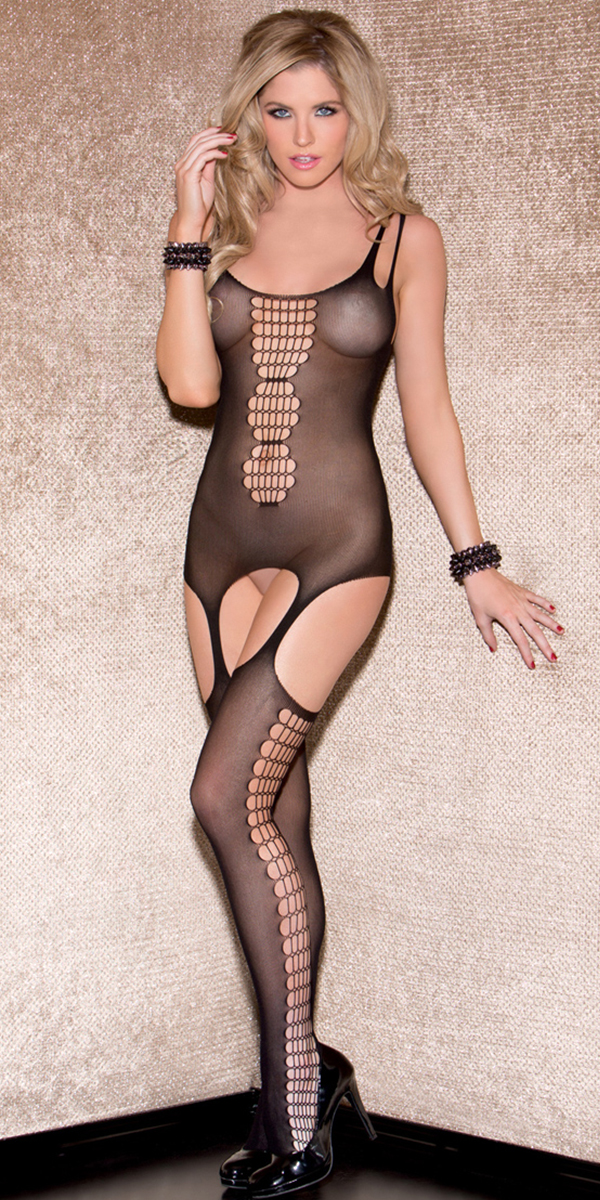black cami bodystocking with attached thigh highs sexy women's hosiery