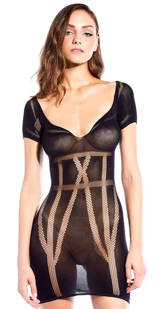 black chemise with contrast lines sexy women's lingerie