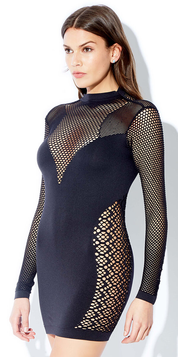 black chemise with laser cut-out panels sexy women's lingerie