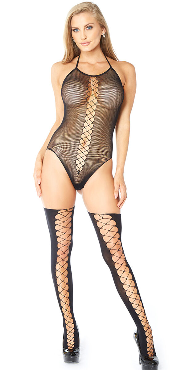 black criss-cross fishnet lace bodystocking sexy women's hosiery