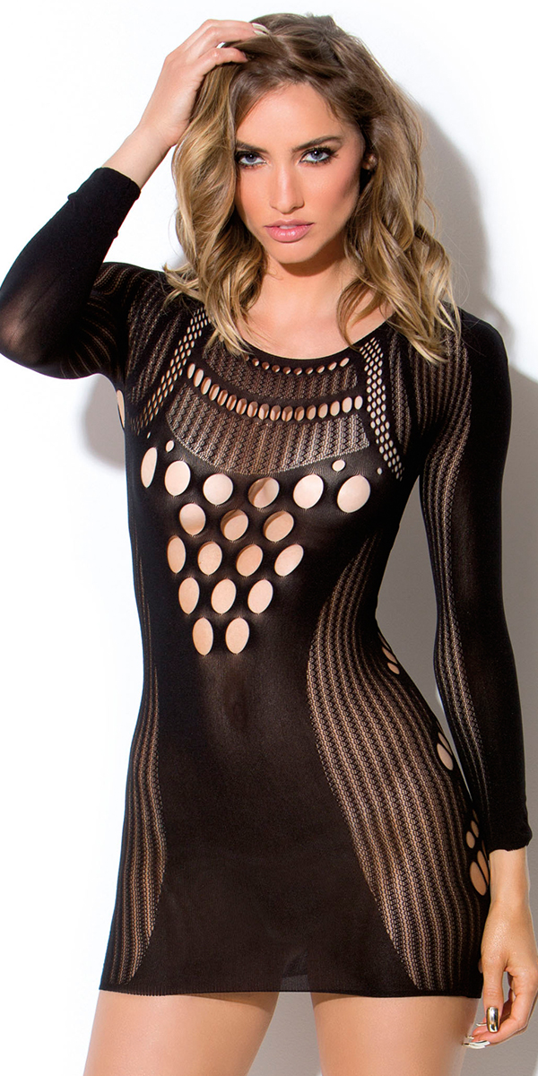 black cut-out holes and stripes chemise sexy women's lingerie