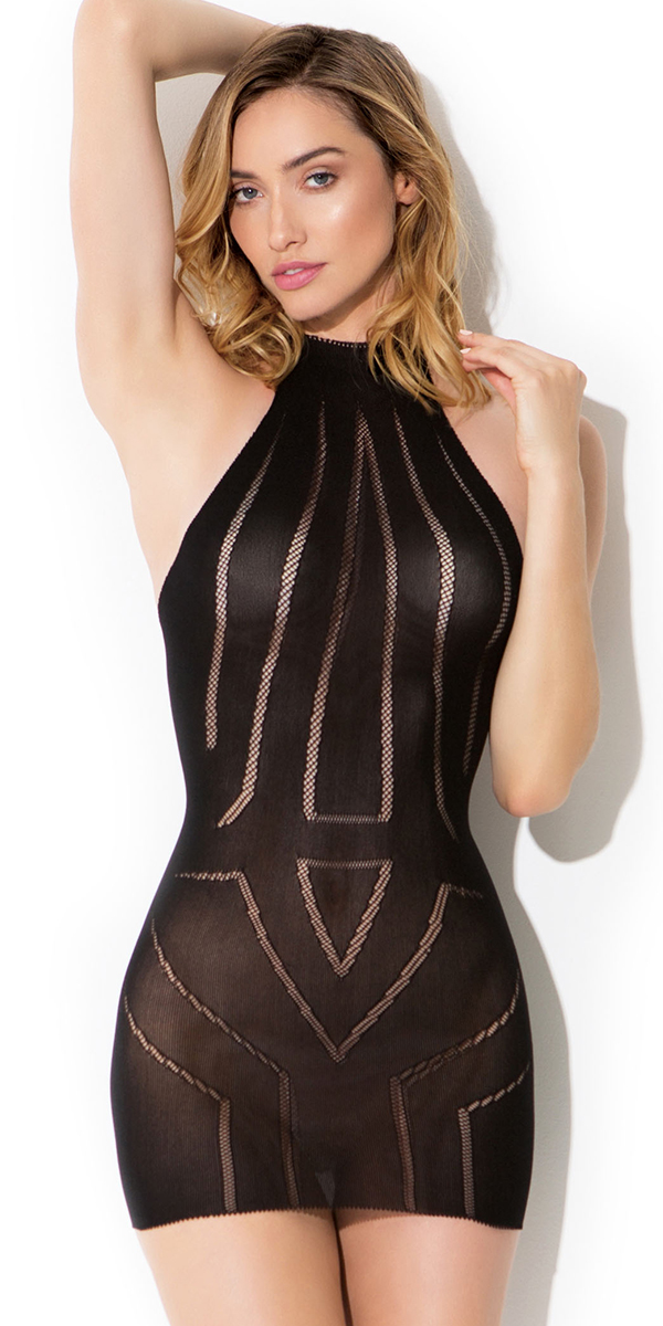 black diamond fishnet pattern chemise sexy women's lingerie