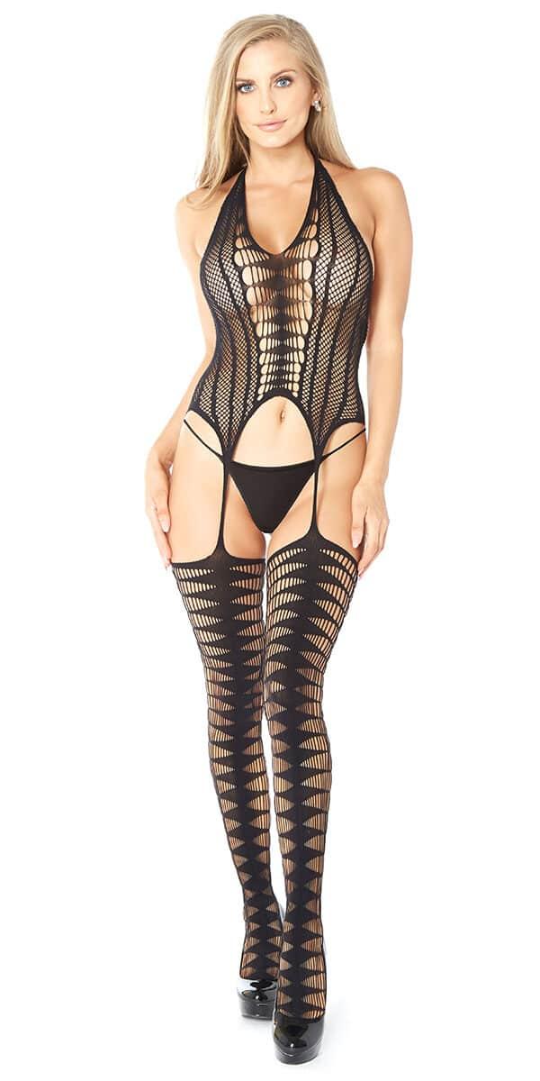 black diamond pattern bodystocking sexy women's hosiery