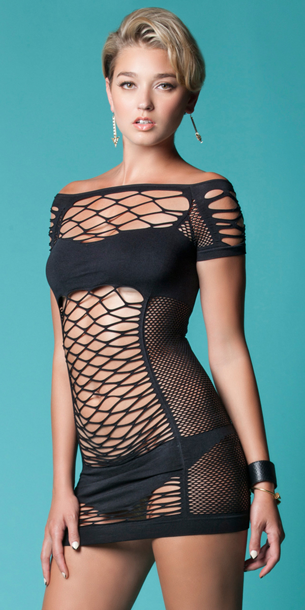 black fishnet bandeau mini dress sexy women's clubwear