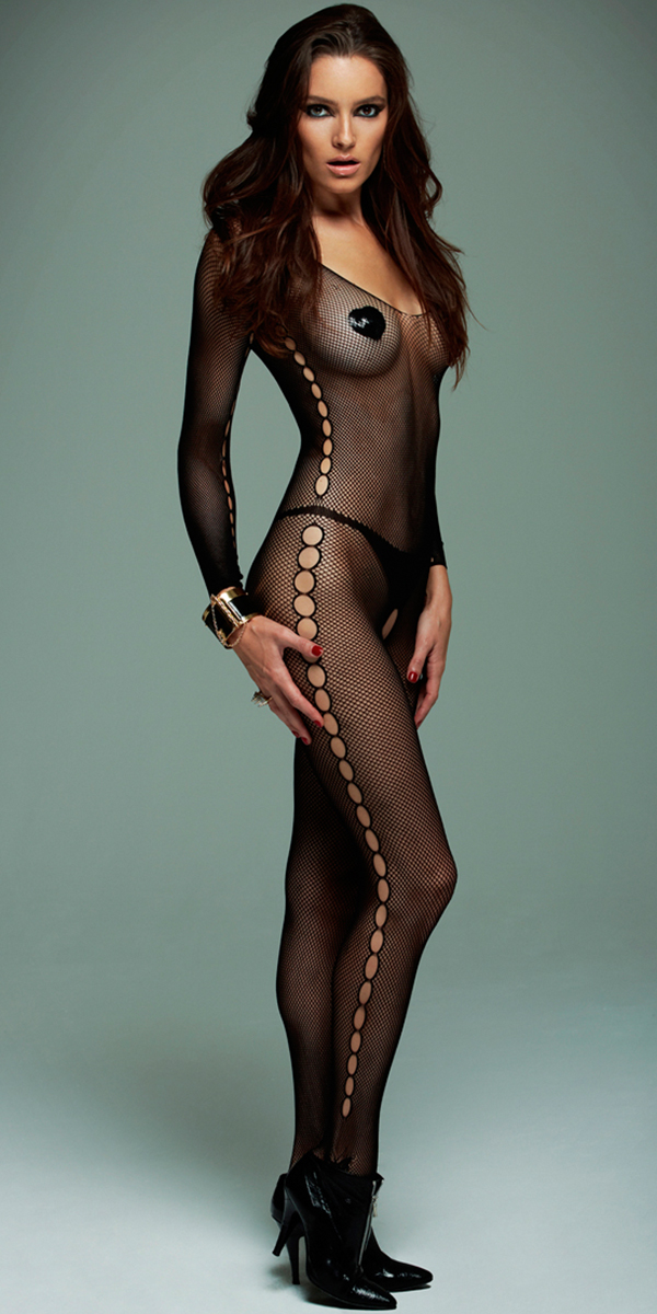 black fishnet bodystocking with o side cut-outs sexy women's hosiery