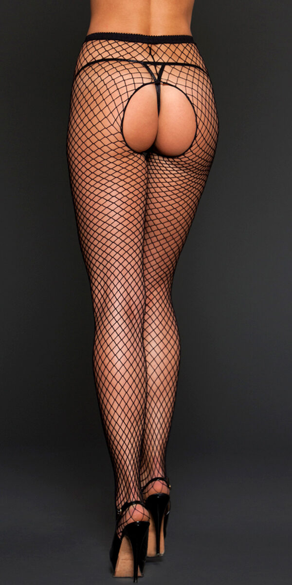 black fishnet crotchless pantyhose sexy women's hosiery tights