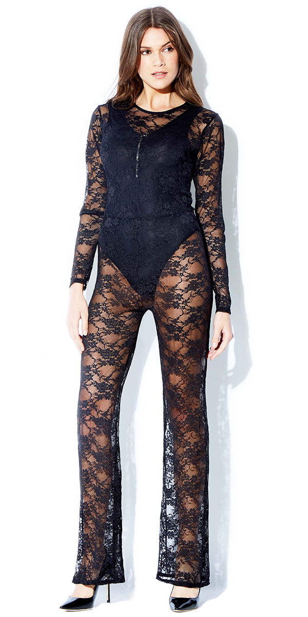 black floral lace catsuit sexy women's hosiery