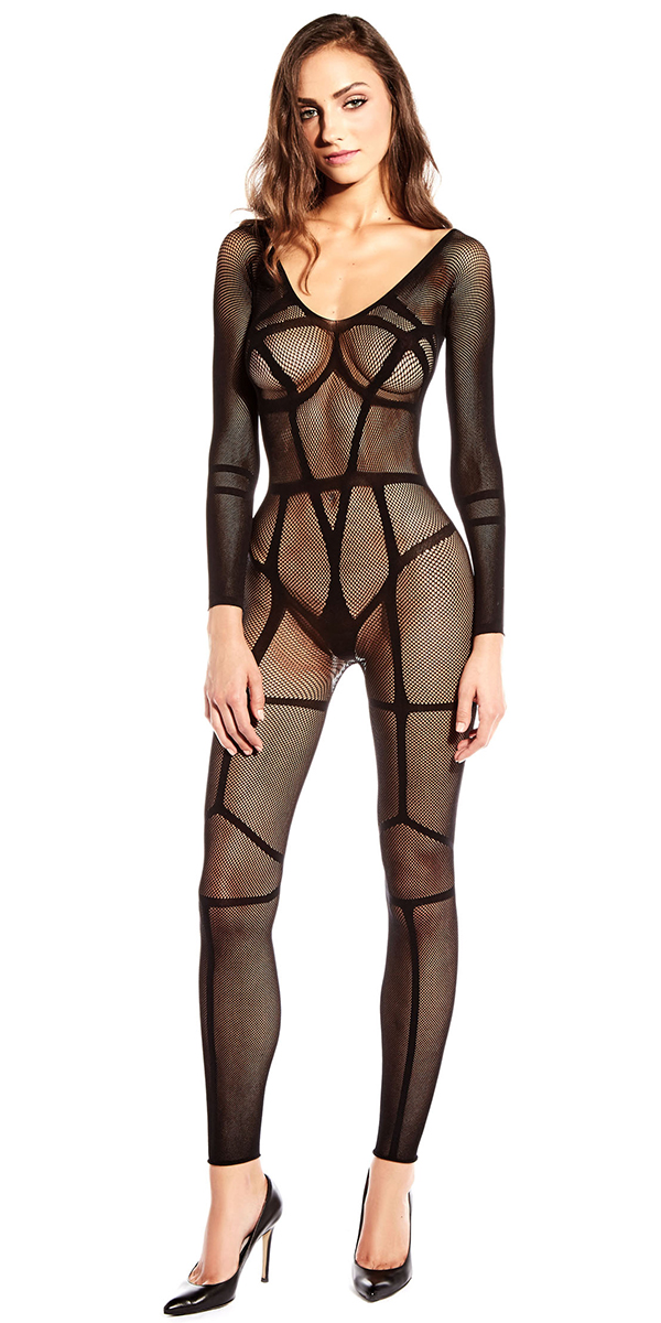 black full bodysuit with contrast lines sexy women's hosiery