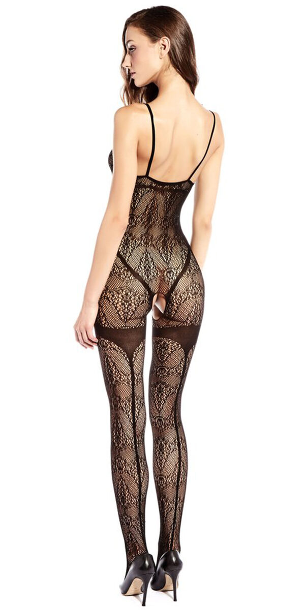 black full bodysuit with contrasting lines sexy women's hosiery