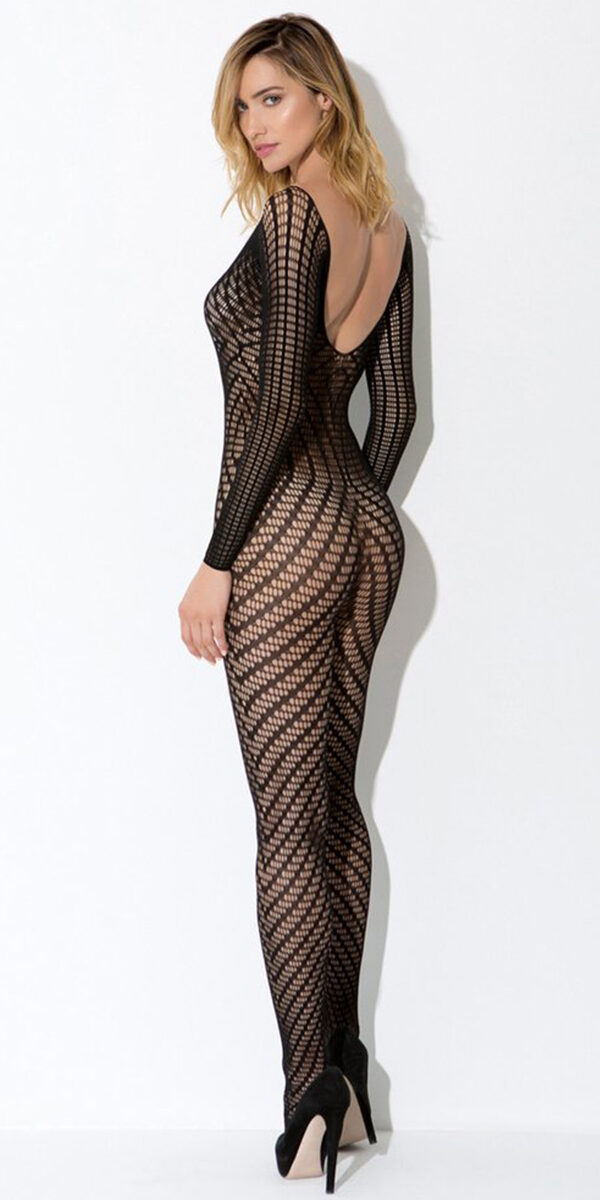 black geo pattern knit bodystocking sexy women's hosiery