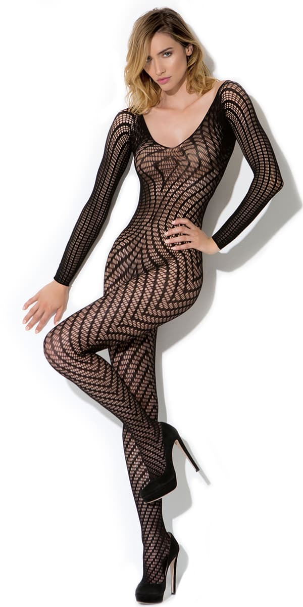 black geo pattern knit bodystocking sexy women's hosiery