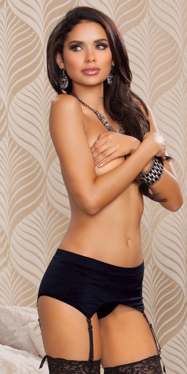 black high-waisted garter sexy women's lingerie