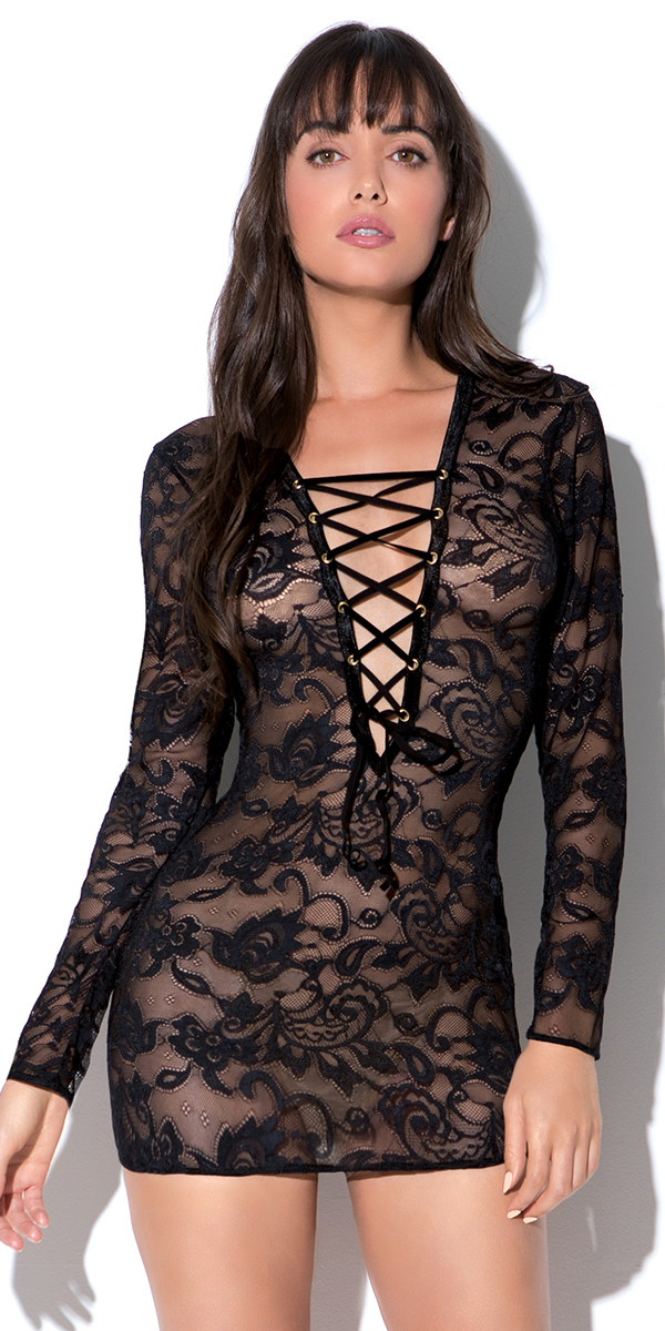 black floral lace chemise with front lace-up sexy women's lingerie