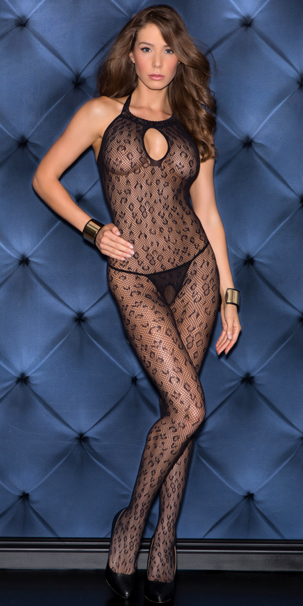 black leopard pattern bodystocking sexy women's hosiery