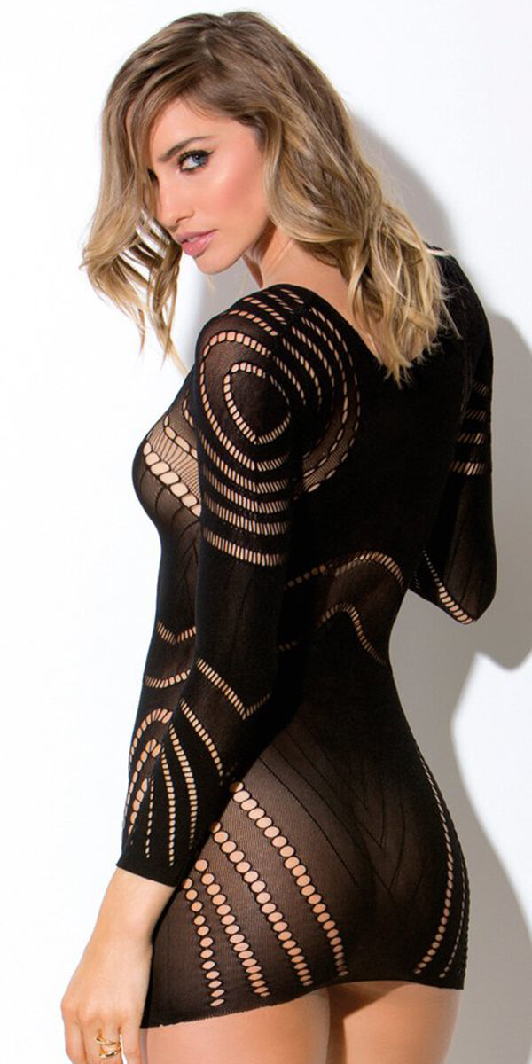 black multi patterned chemise sexy women's lingerie
