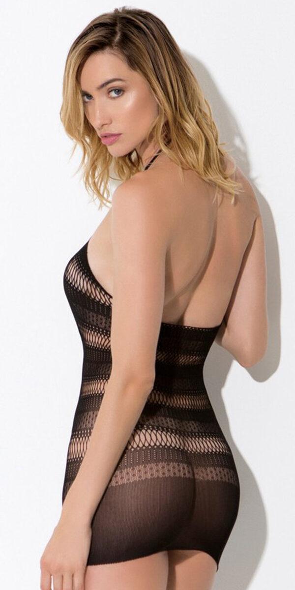 black multi patterned fishnet knit chemise sexy women's lingerie