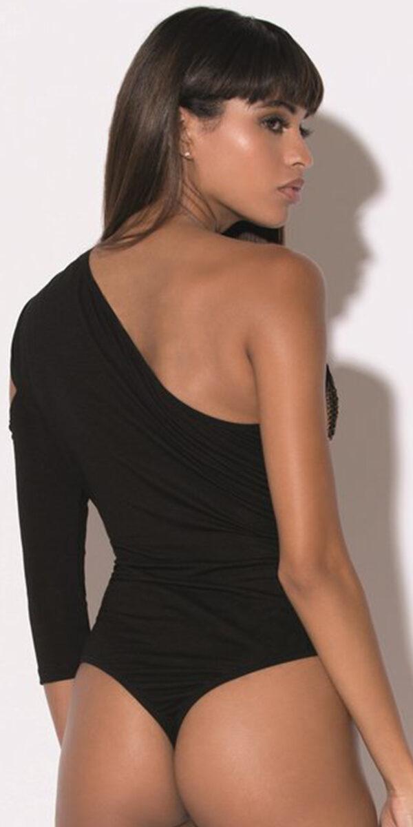 black one sleeve bodysuit with fishnet panel sexy women's hosiery