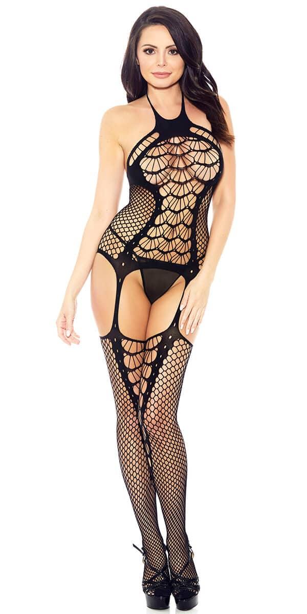 black spider web fishnet bodystocking sexy women's hosiery