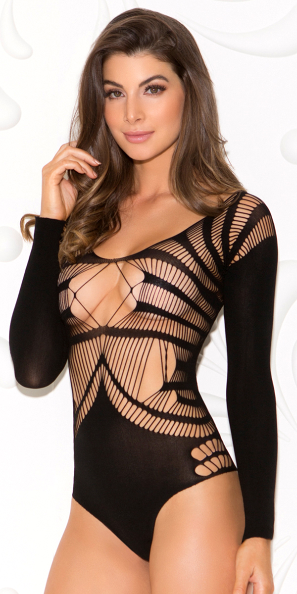 black teddy with cut-outs sexy women's lingerie