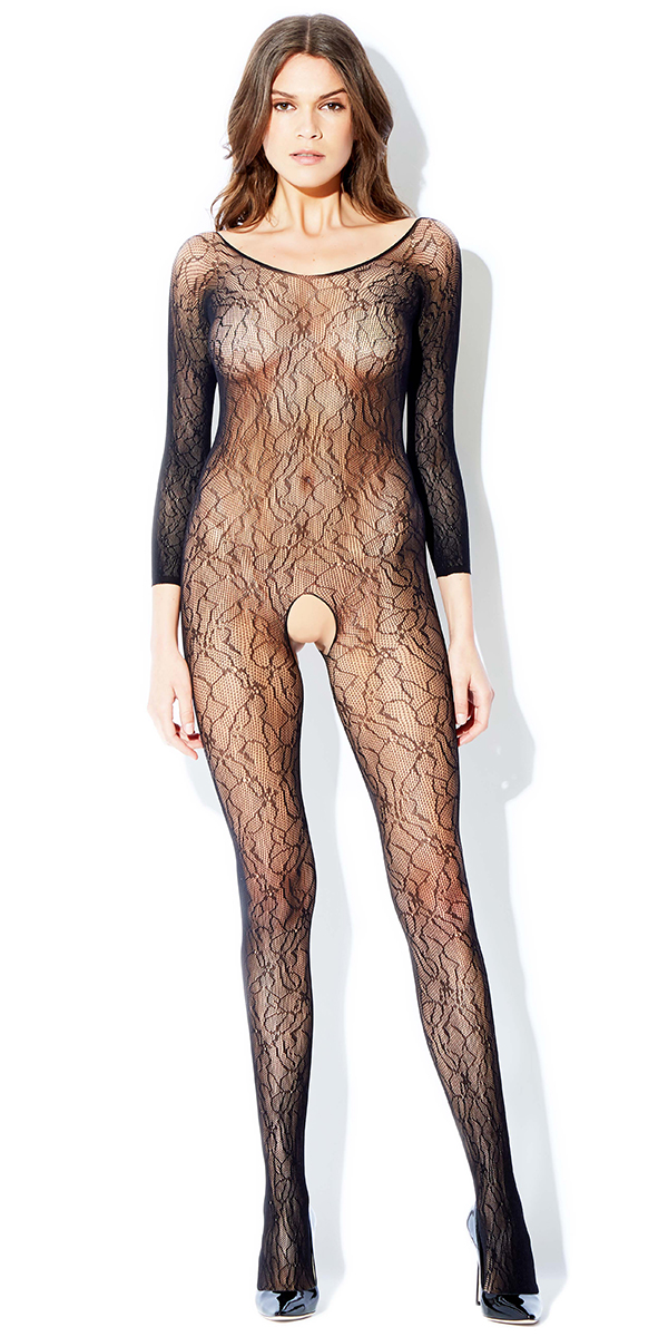 black three-quarter sleeve vine bodystocking sexy women's hosiery