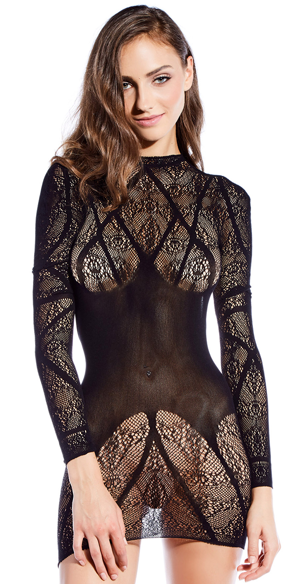 black turtle neck lined chemise sexy women's lingerie