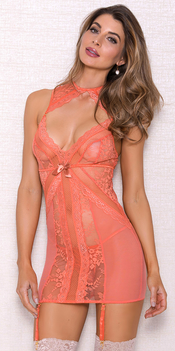 coral mesh lace chemise with neck choker and g-string sexy women's lingerie