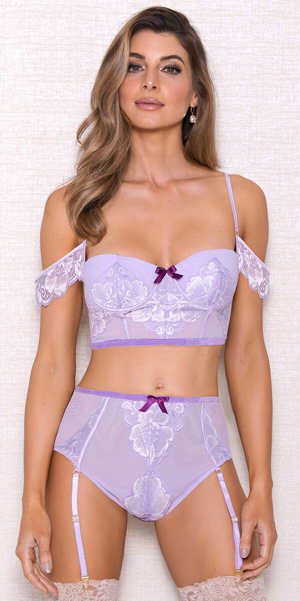 lavender off-the-shoulder lace mesh bra set sexy women's intimates