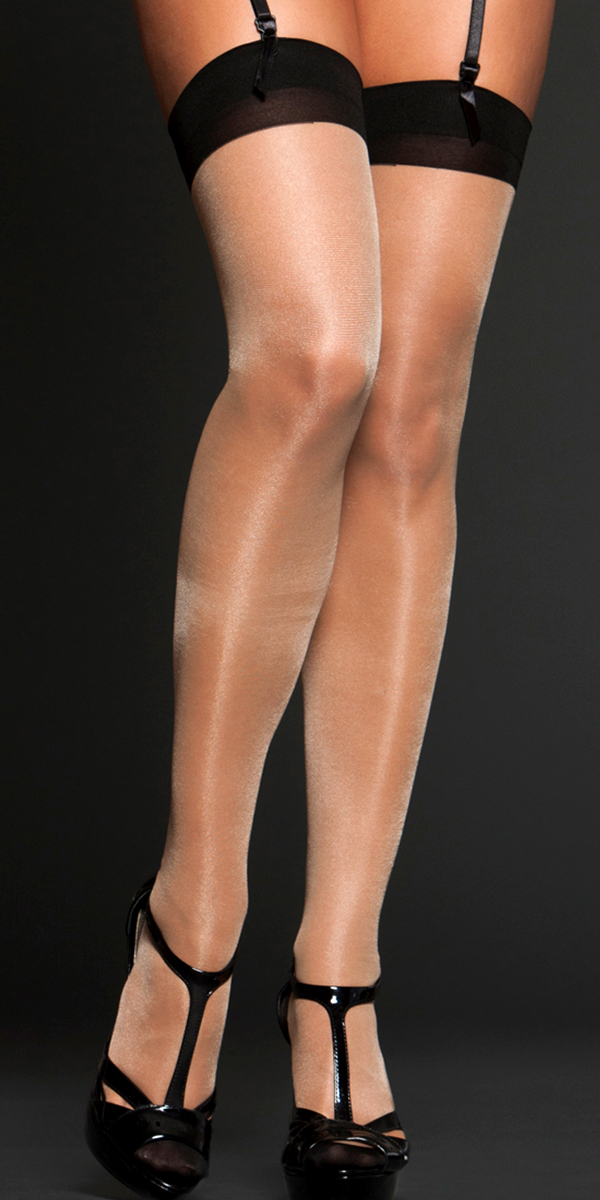 nude sheer contrast thigh highs sexy women's hosiery tights