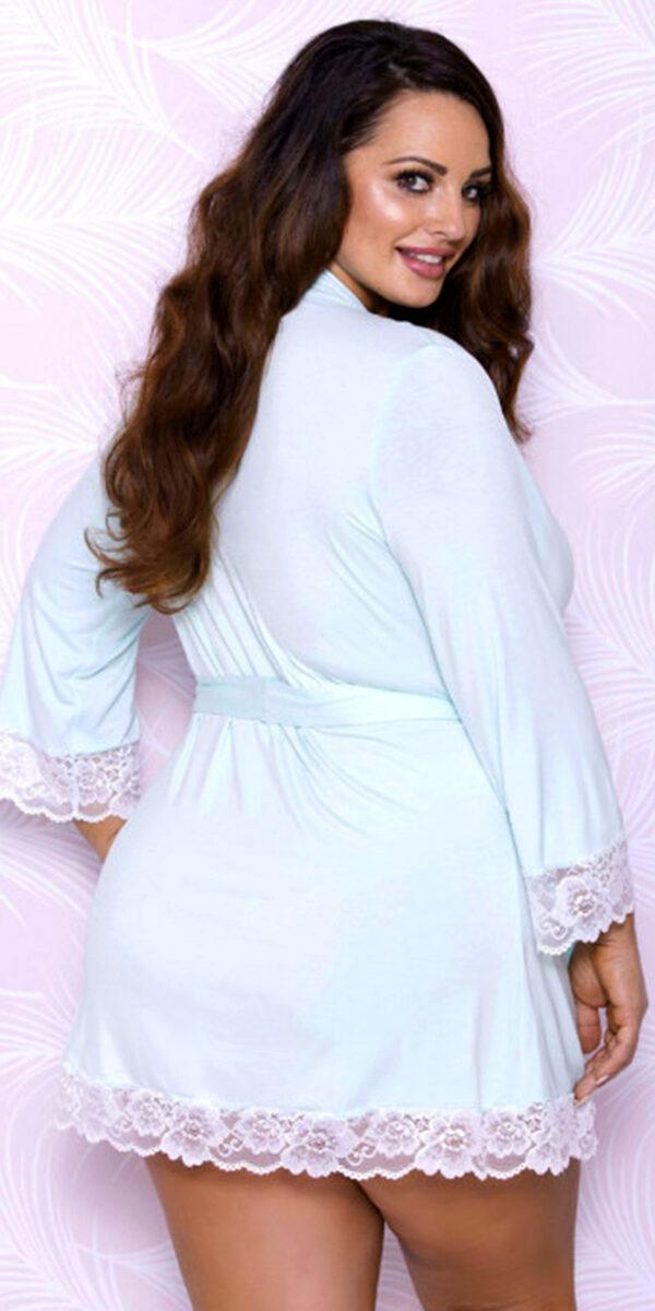 plus size aqua modal lace robe sexy women's loungewear curvy