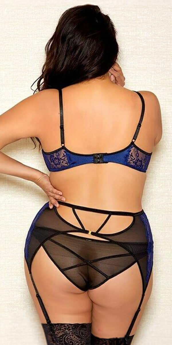 plus size black and blue eyelash lace bra set sexy women's intimates curvy
