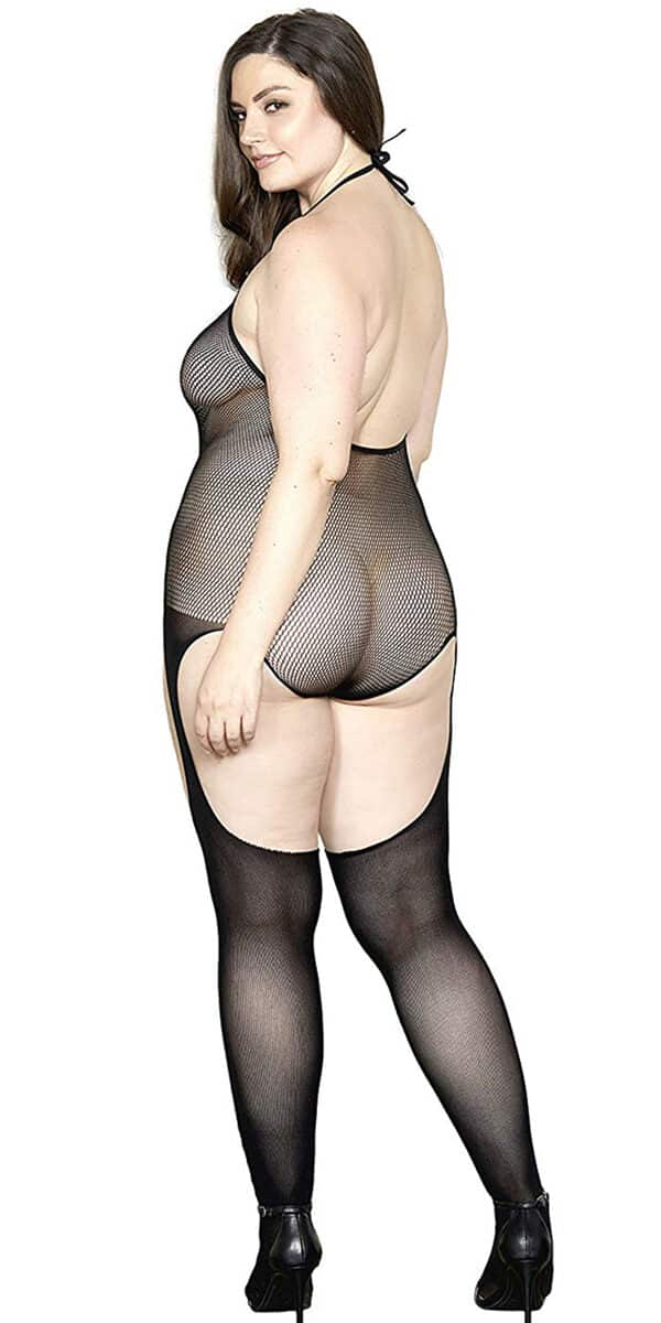 plus size black criss-cross fishnet lace bodystocking sexy women's hosiery curvy