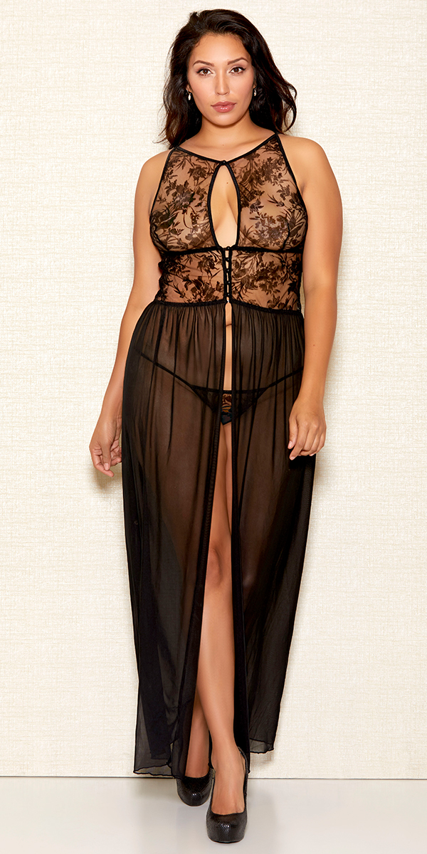 plus size black flocking velvet mesh gown sexy women's loungewear curvy