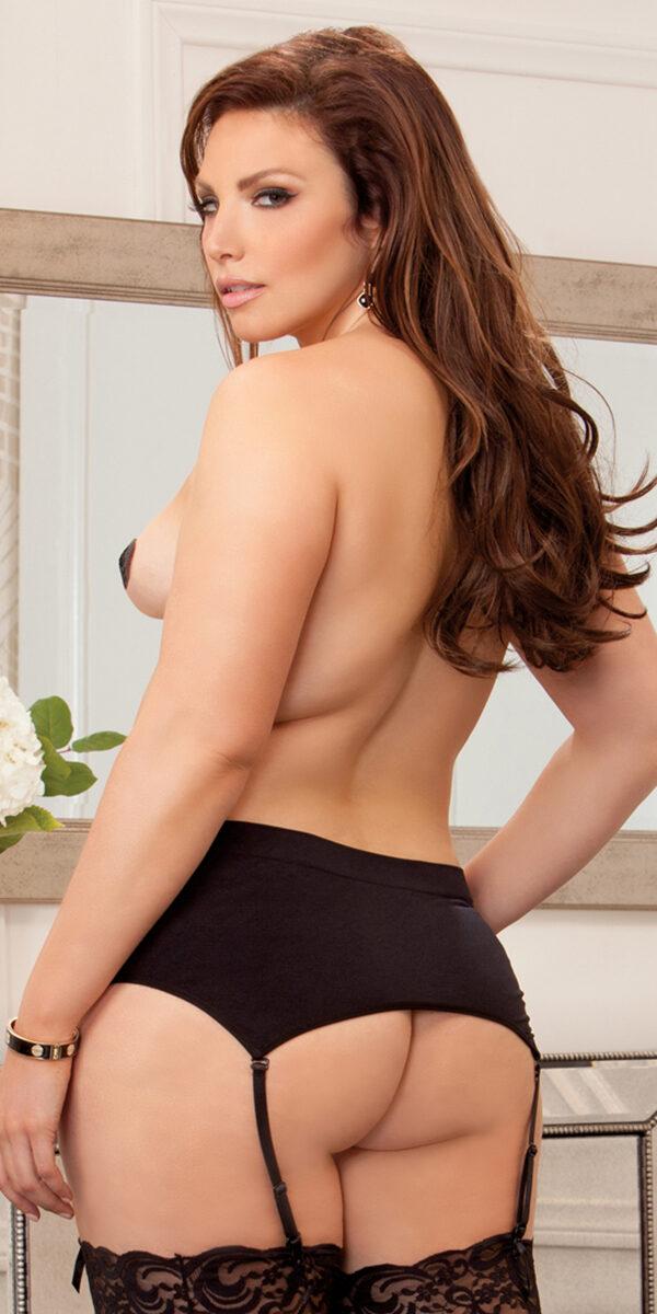 plus size black high-waisted garter sexy women's lingerie curvy
