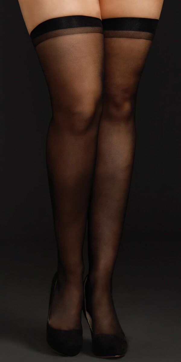plus size sheer thigh highs sexy women's hosiery tights curvy