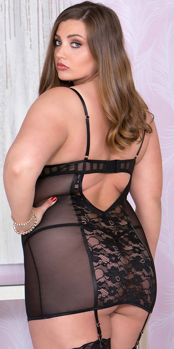 plus size black strappy mesh lace-up chemise with g-string sexy women's lingerie curvy
