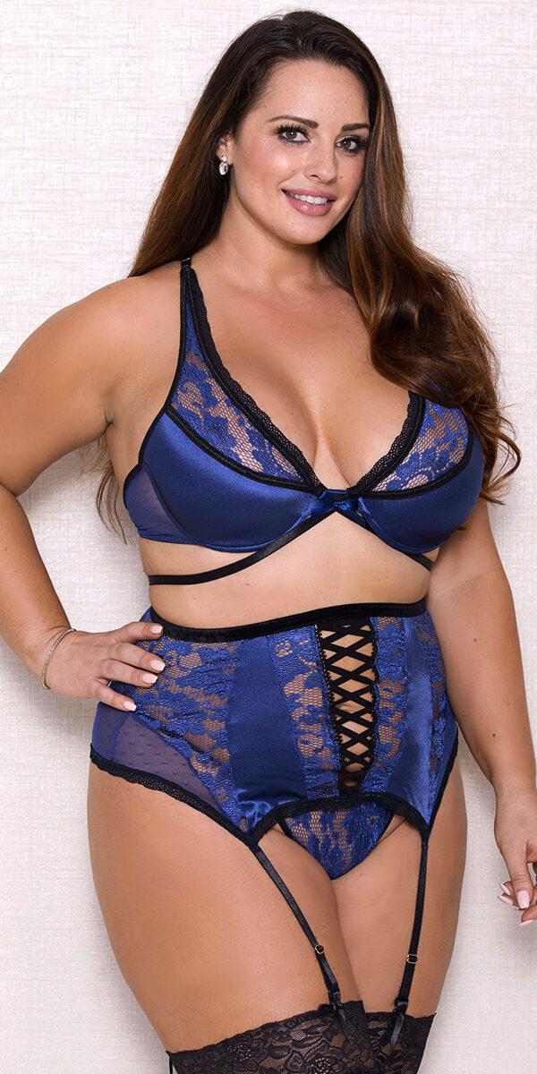 plus size blue and black mesh lace bra set sexy women's intimates curvy
