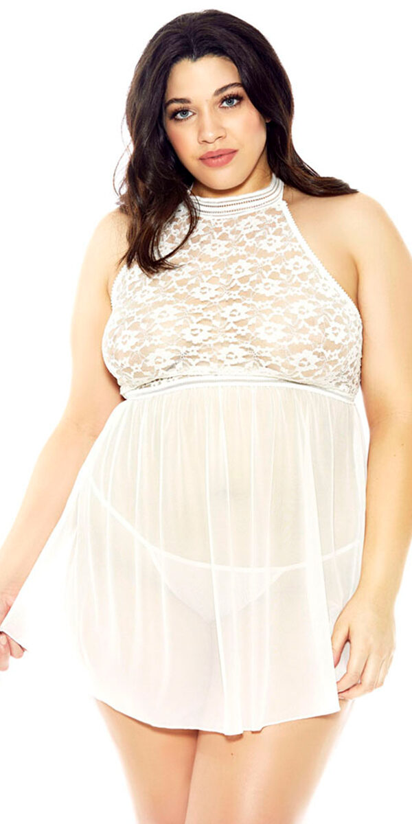 plus size halter lace mesh babydoll with g-string sexy women's lingerie curvy