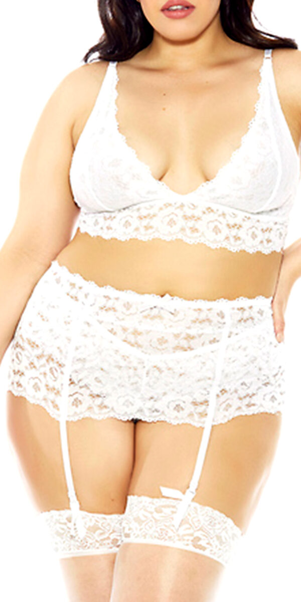 plus size lace garter belt sexy women's lingerie curvy