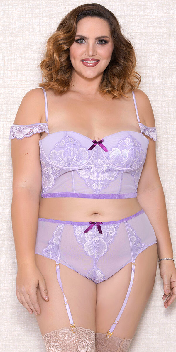 plus size lavender off-the-shoulder lace mesh bra set sexy women's intimates curvy