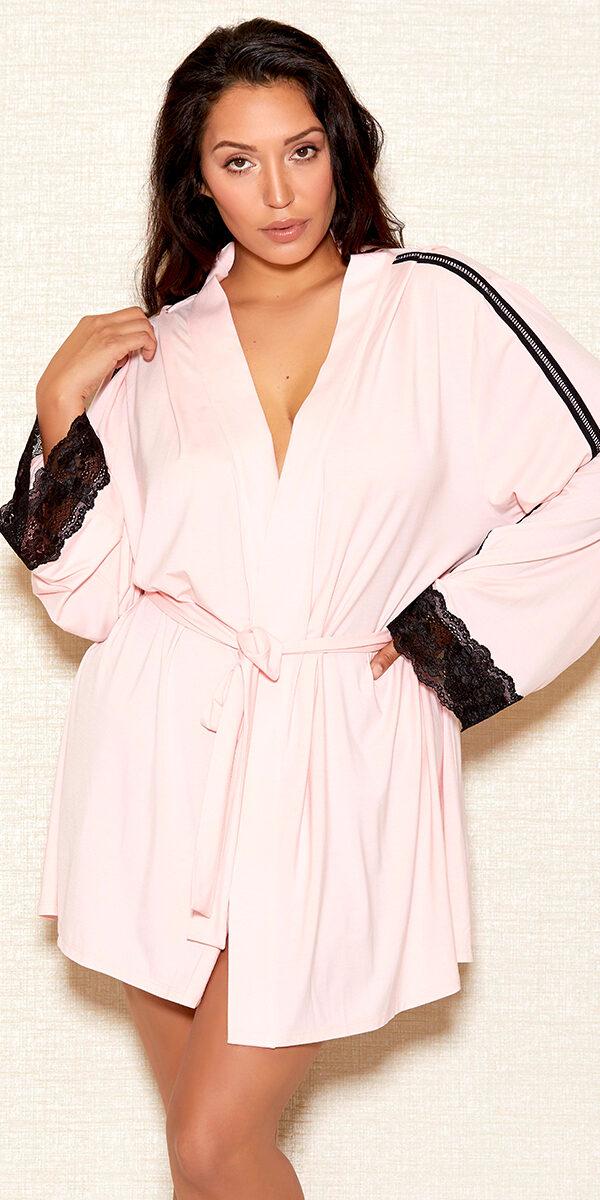 plus size pink modal robe sexy women's loungewear curvy